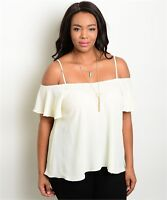 WOMEN'S PLUS SIZE FLIRTY IVORY OFF SHOULDER TOP WITH STRAPS XL 1XL NWT