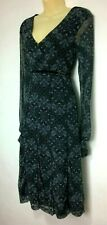 Mexx  Dress Stretch Size Med 10 Black Grey Print Faux Wrap Sheer Ruched Sleeves