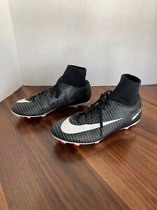 Nike Mercurial Victory FG Youth 5.5 Soccer Cleats Black White Gray Boy Girl Sock