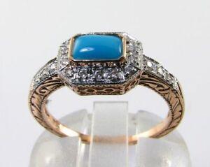 LUSH 9K 9CT ROSE GOLD PERSIAN TURQUOISE DIAMOND ART DECO INS RING FREE RESIZE