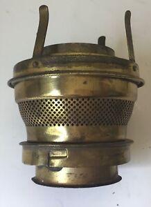 Antique brass Plume & Atwood bayonet base center draft oil lamp burner P&A