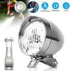 Classical Silver Vintage LED Bike Headlight Bicycle Retro Light Front Head Lamp