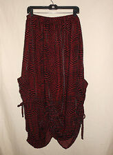 U KRISTINE RRIK USA 1X XL Red Black Velvet Burnout Tie Bottom Long Lined Skirt