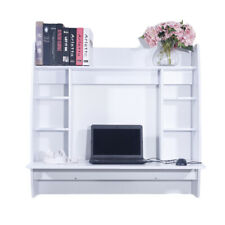 Office Study Desk Floating Wall Mount Computer Desk Shelves Pc Table White X5T5