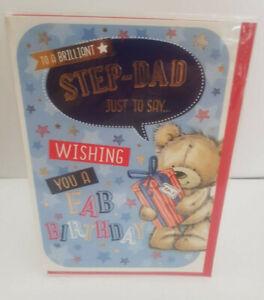 STEP DAD BIRTHDAY CARD - TO A BRILLIANT STEP DAD - LOVELY CUTE CARD 19 X 13 CMS