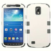 FOR Samsung Galaxy S4 Active IMPACT TUFF HYBRID Skin Case Pearl White/Iron Gray