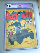 BATMAN #12 1942 CGC 2.0 Joker Appearance RARE GOLDEN AGE DC COMICS 💥🦇💥🦇💥