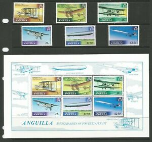 Anguilla 1979 History of Powered Flight MM Set & Mini Sheet SG 365/71