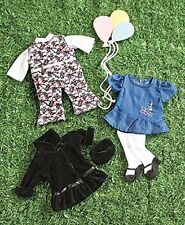 "18"" Doll Clothes Set of 3 Playwear Dress Coat and Jumper Fits American Girl"