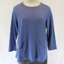 NEW NWOT J Jill Woman Plus Size Blouse Dusty Blue Cotton Top Pockets Stretch 2X