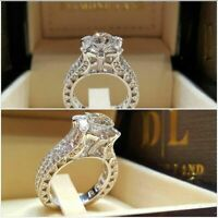 Women Elegant Jewelry 925 Silver Rings White Sapphire Wedding Ring Size 6-10