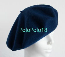 New Polo Ralph Lauren Women Italy Wool Beret Hat Navy