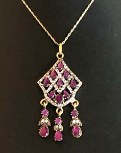 "Natural Ruby Necklace Sterling Silver Bronze Chandelier Turkish 19.5"" 9g #1355"