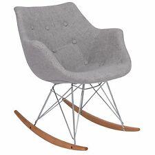 LeisureMod Willow Twill Fabric Eiffel Rocking Chair - Grey