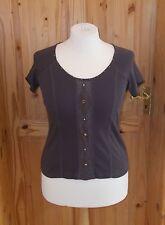 PER UNA brown short sleeve crochet trim tunic t-shirt top wooden beads 16 44 M&S
