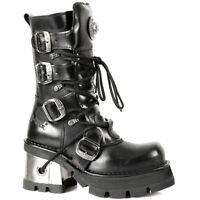 NEW ROCK 373-S33 HEEL BLACK METALLIC NEWROCK GOTH PUNK LEATHER BOOT BIKER BOOTS