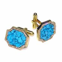Gold-Tone CuffLinks Turquoise Color Stones Mens Cuff Links