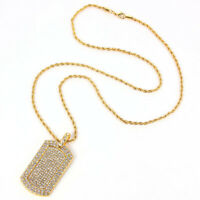 Men Hip Hop Pendant Filled Rhinestone Gold Plated Charm Square Dog Tag Necklace