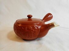 ASIAN TEA POT Side Spout Red Clay Pottery 1 Cup Fishing Pictures Chip on Spout