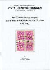 Broschüre Die Vorausentwertungen der Firma UNIGRO aus Sint Niklaas von 1953