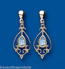 Blauer Topas Ohrringe Gelb Gold Tropfen Viktorianisch Design