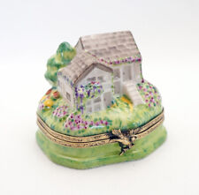 New French Limoges Trinket Box Gorgeous Summer Cottage with Colorful Garden