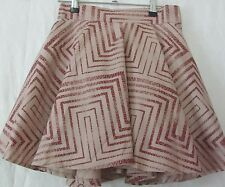 ANGEL BIBA Size 10 Brown & Maroon full short skirt, lined + tulle, geometric