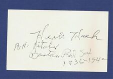 Herb Hash   Signed 3x5 Index Card    COA      #1