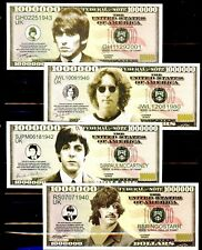 BEATLES George John Paul Ringo Complete Set of All 4 Novelty Banknotes CRISP!