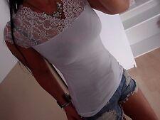 Cotton Shirt Spitze Neu XS S M Weiß Top Blogger Trend Italy Baumwolle Bluse 36
