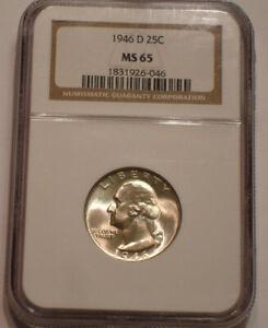 1946 D Washington Quarter NGC MS 65 frosty Gem BU sparkling Mint LUSTER