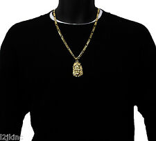 Jesus Charm Gold Plated Piece Pendant Figaro Chain Necklace Jewelry God Iced Out