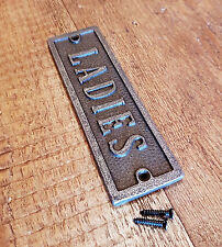 Natural Cast Iron Wall Mounted LADIES Plaque For Door - Toilet Loo Garden Sign