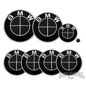 For BMW Badge Satin Carbon Fibre Black x2 All Models Decal Sticker Fiber Overlay