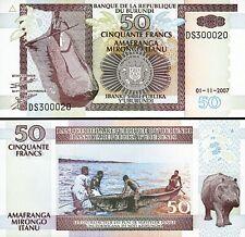 Burundi 50 Francs 2007, UNC, 20 Pcs LOT, Consecutive, P-36g, Hippopotamus