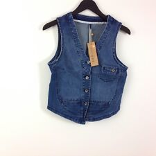 B7 Women's Jean Top Size S Blue Denim Button Down Front Sleeveless Cute New NWT