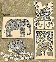 Wooden Laser Cut Picture Art, MDF Craft Plaque, Elephant, Hedgehog, Rabbit, Tea
