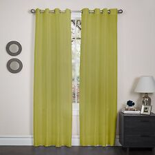 """Faux Silk Window Curtain Panel, Metal Grommet, Holly, 57""""x90"""", Solid Colors"""