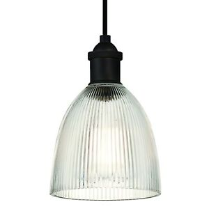 One Light Mini Indoor Pendant VINTAGE OIL RUBBED BRONZE with Clear Ribbed Glass