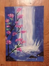 Cherry Blossom midnight waterfall. Original acrylic painting on flat canvas.