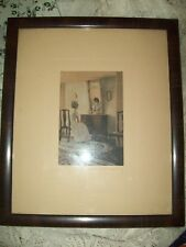 Rare ANTIQUE Signed Wallace Nutting Bonnet in Mirror Hand colored PHOTOGRAPH