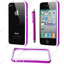 Housse Coque Etui Bumper Violet / Blanc Apple iPhone 4S 4 + Stylet