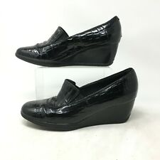 Clarks Bendables Loafer Wedge Heels Slip On Faux Croc Leather Black Womens 8M