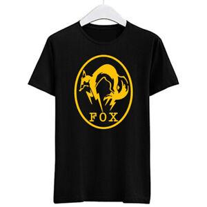 FOX HOUND Metal gear Solid Logo Men's Black T-Shirt Size S-3XL