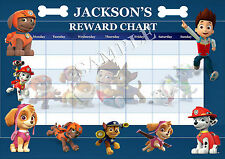 PERSONALISED CHILDRENS PAW PATROL REWARD CHART MAGNET STRIPS & STAR STICKERS