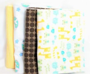 Baby Receiving Blankets Lot of 4 Swaddling Yellow Brown Blue Cotton Flannel