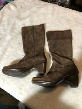 DANSKO 'Risa' Brown Suede ZIP BOOTS Size 38 Cuffed Mid-Calf Knee Tread EUC!