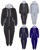 MENS WOMENS HOODED THERMAL ALL IN ONE WARM WINTER UNISEX ZIP UP JUMPSUIT UNISEX