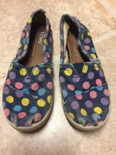 Toms Girls YOUTH Size 12 Blue Polka Dot Classic Slip-on Shoes