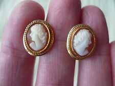 Vintage Genuine Shell Cameo Earrings, hand carved, screw back, 5.5 gram 14k gold